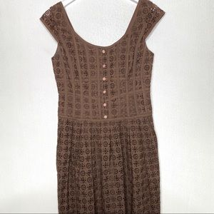 KAY UNGER NY Brown Eyelet Dress Size 4